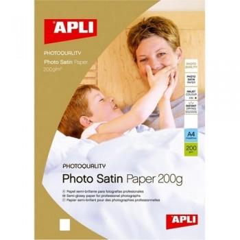 PAPEL FOTO A4 200 GR. 20 HOJAS SATINADO PARA INKJET APLI