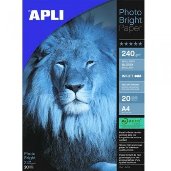 PAPEL FOTO A4 240 GR. 20 HOJAS BRILLANTE PARA INKJET PHOTO BRIGHT APLI