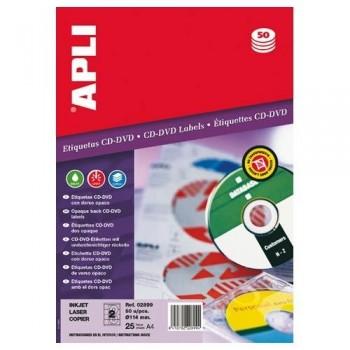 ETIQUETA CD-DVD 114/41 MM. DORSO OPACO 25 HOJAS A4 50 UNIDADES APLI