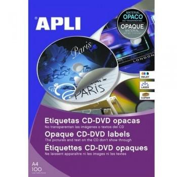 ETIQUETA CD-DVD 114/41 MM.DORSO OPACO 100 HOJAS A4 200 UNIDADES ADHESIVO PERMANENTE APLI
