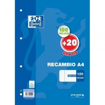 RECAMBIO BLOC A4 4TAL 90GR 100H OXFORD SCHOOL