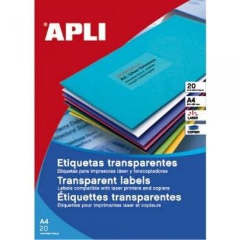 ETIQUETAS POLIESTER APLI MATE 63,5X38,1 TRANSPARENTES INTEMPERIE