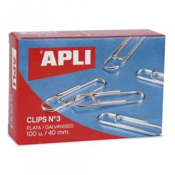 CLIPS PLATEADOS N 3 40 MM. APLI