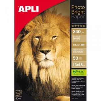 PAPEL FOTO 13X18 240 GR. 50 HOJAS PARA INKJET PHOTO BRIGHT PRO PHOTO BRIGHT APLI