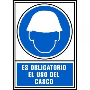 SEÑAL PVC NORMALIZADA OBLIGATORIO EL USO DE CASCO 210X297 AZUL ARCHIVO 2000