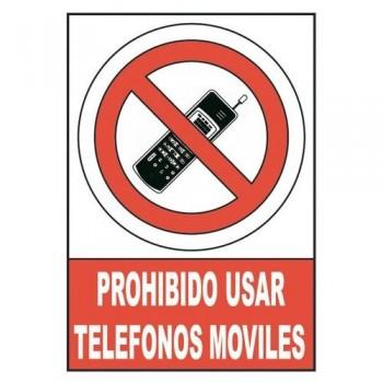 SEÑAL PVC NORMALIZADA PROHIBIDO UTILIZAR TELEFONOS MOVILES 210X297 ROJO ARCHIVO 2000