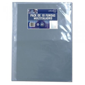 Fundas multitaladro A3 320x420mm 10u. PP cristal