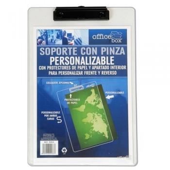 SOPORTE TRANSPARENTE PERSONALIZABLE CON PINZA A4 230X340MM.. OFFICE BOX
