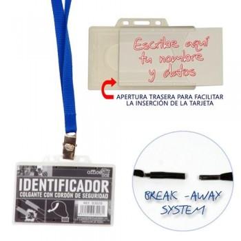 IDENTIFICADOR COLGANTE CRISTAL TRANSPARENTE CORDON AZUL 90X55