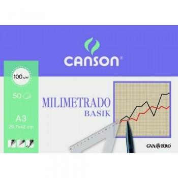PAPEL MILIMETRADO A4 100 GR 50 HOJAS ENCOLADO 1 LADO CANSON