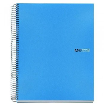CUADERNO ESPIRAL A5 200 HOJAS 70GR. CUADRÍCULA 5X5 MICROPERFORADAS TAPA PP AZUL 8 BANDAS COLOR NOTEBOOK 8 MR