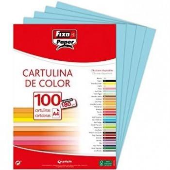CARTULINA A4 180GR AZUL PASTEL FIXO 100 HOJAS