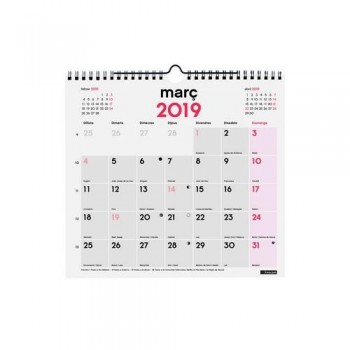 CALENDARIO PARED ESCRIBIR M 265X245MM. DOBLE ESPIRAL CATALÁN FINOCAM