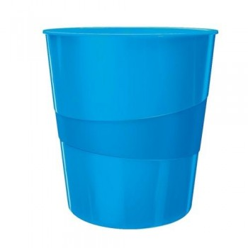 Papelera plástico 15 litros azul metalizado Leitz WOW