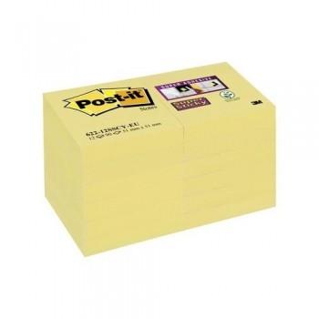 NOTAS ADHESIVAS 47,6X47,6MM COLOR AMARILLO CANARIO PACK DE 12 BLOCS SUPER STICKY POST-IT