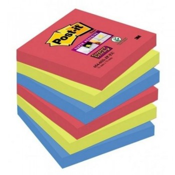NOTAS ADHESIVAS SUPER STICKY 76X76MM. COLORES BORA BORA PACK DE 6 BLOCS POST-IT