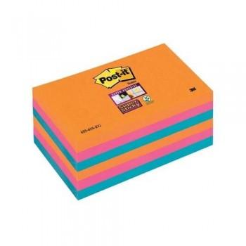 NOTAS ADHESIVAS SUPER STICKY 76X127 COLORES BANGKOK PACK DE 6 BLOCS POST-IT