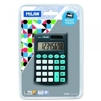 CALCULADORA BOLSILLO 8 DÍGITOS NEGRA BLISTER 150908 POCKET TOUCH MILAN