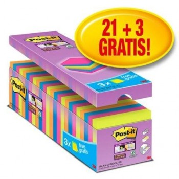 NOTAS POST-IT SUPER STICKY 76X76 MM 90H C/SURTIDOS PACK 21+3