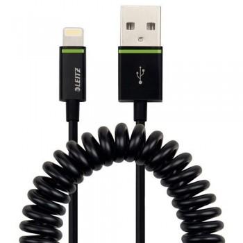 CABLE LIGHTNING APPLE A USB ENROLLADO 1M NEGRO COMPLETE DE LEITZ
