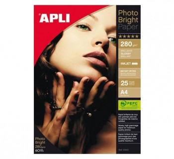 PAQ. 25H PAPEL APLI PHOTO BRIGHT 280G