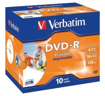 VERBATIM 10U DVD -R 4.7GB 16X IMPRIMIB 43521