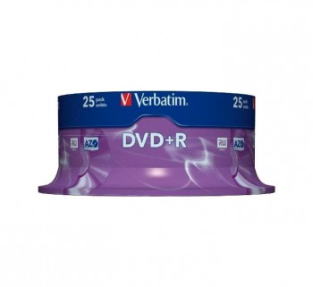 VERBATIM BOBINA 25U DVD+R 4.7GB 16X SPINDLE  43500