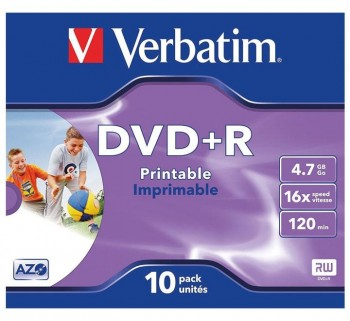 VERBATIM DVD +R 4.7GB 16X JEWEL CASE 10 IMPRIMIBLE