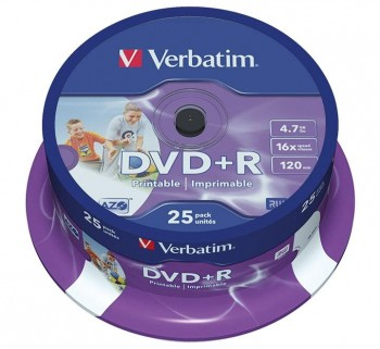 VERBATIM 25U DVD +R 4.7GB 16X SPINDLE IMP 43539