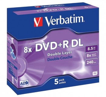 VERBATIM PACK 5U DVD+RDL DOBLE CAPA 8.5GB 8X 43541