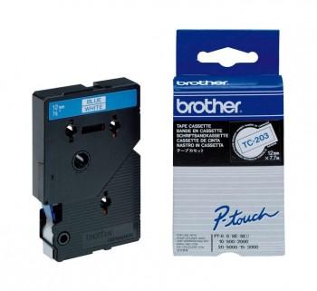 CINTA BROTHER LAM 12MMX7.7M AZ BL TC-203
