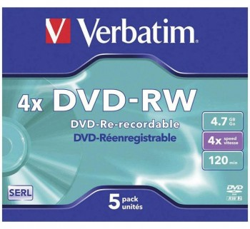 VERBATIM PACK 5U DVD-RW JEWEL CASE 4.7GB 43285