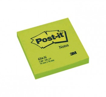 BLOC 100H NOTAS POST-IT REPOS. 76X76 VERDE NEON