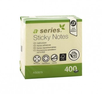 CUBO NOTAS STICKY A-SERIES 400H 75X75MM AMARILLO