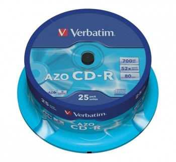 VERBATIM BOBINA 25U CD-R CRYSTAL 80MIN 700MB 43352