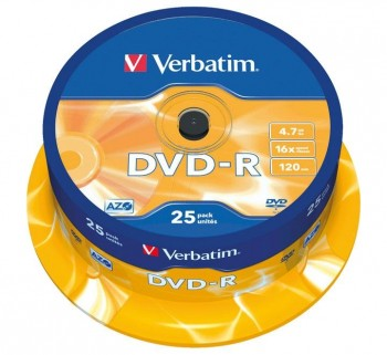 VERBATIM BOBINA 25U DVD-R 16X 4.7GB 43522