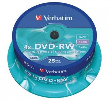 VERBATIM BOBINA 25 DVD-RW SERL 4X 4.7GB 43639