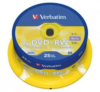 VERBATIM BOBINA 25U DVD+RW SERL 4X 4.7GB 43489