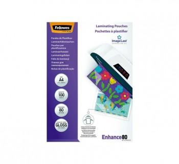 PAQ. 100 FUNDAS PLASTIF. FELLOWES 80MIC A4 5306114