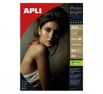 PAQ. 50H PAPEL APLI PHOTO BRIGHT 200G A3