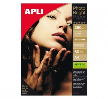 PAQ. 60H PAPEL APLI PHOTO BRIGHT 280G A4