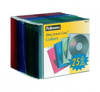 PACK 25 CAJAS FELLOWES SLIM CD DVD COLORES STDO