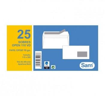 PAQ.25 SOBRES SAM 115X225 AUTODEX +V.DCHA BL.