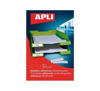 PACK 6 BOLSILLOS ETIQ. APLI ADH. TRANSP. 46X75MM