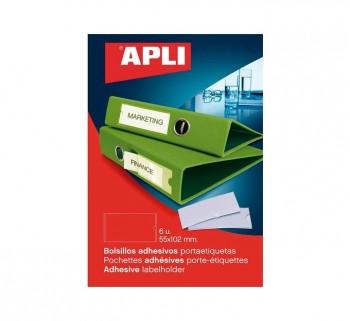 PACK 6 BOLSILLOS ETIQ. APLI ADH. TRANSP. 56X102MM