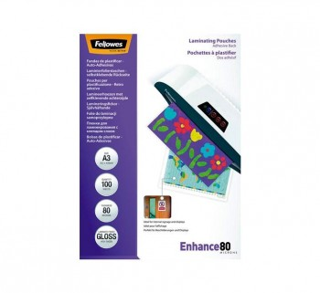 P.100 FUNDAS PLASTIF.ADH FELLOWES A3 80MI. 5302302