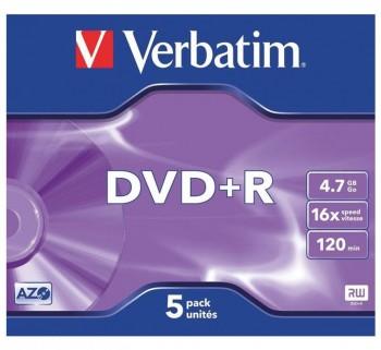 VERBATIM PACK 5U. DVD+R 16X 4.70GB 43497