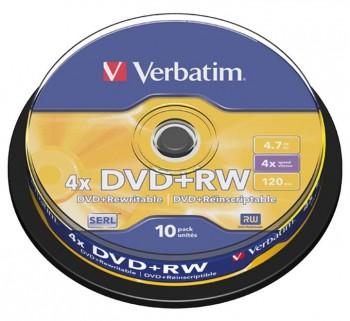 VERBATIM BOBINA 10U DVD RW 4X 4.7GB SERL 43488
