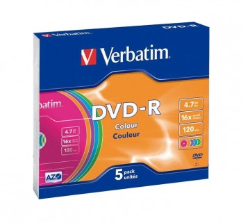 VERBATIM PACK 5U DVD-R 16X 4.7GB SLIM CASE 43557