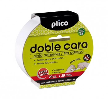 CINTA ADH. DOBLE CARA 20MX30MM PLICO 13320